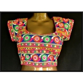 Surprise Gift Inside Kutch Embroidery Designer Multicolour Mirror Hand Embroidered Padded Blouse