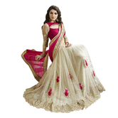 Pink & White Net Embroidered Saree With Blouse