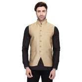 Rg Designers Men\'s Sleeveless Nehru Jacket Gold Silk Jacket
