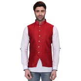 Rg Designers Men\'s Sleeveless Nehru Jacket Red Silk Jacket