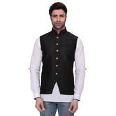Rg Designers Men\'s Sleeveless Nehru Jacket Blacksilkjacket - Blacksilkjacket_46