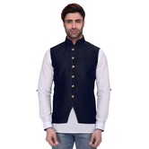 Rg Designers Men\'s Sleeveless Nehru Jacket Navy Silk Jacket