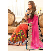 Pink And Orange Half N Half Wedding Saree Mb 570
