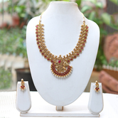 Craftsvilla Latest Antique Peacock Design Maroon Necklace