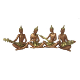 Earth Statue Of Small Thai Musician 1 Set Of 4