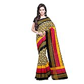 Yellow & Black Cotton Embellished Saree With Blouse