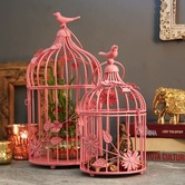 Hot Pink Bird Cage With Floral Vine (set Of 2)
