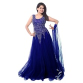 Saanchi Ecommerce Dark Blue Net Party Wear Gown