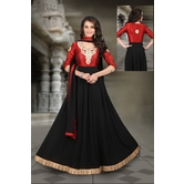 The Four Hundred Red & Black Color Dupion Silk & Faux Georgette Unstitched Gown With Dupatta