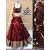 Stylish Red Color Party Wear Banglory Silk Lengha Choli