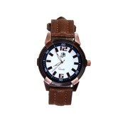New White�dial Round Shape Leather Belt Analog Watch For Men & Boys