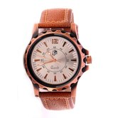 Wonder Silver & Copper Dial Round Shape Brown Leather Belt Analog Watch For Men & Boys