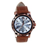 New Silver & Copper Dial Round Shape Brown Leather Belt Analog Watch For Men & Boys