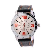 Wonder White Dial Round Shape Leather Belt Analog Watch For Men & Boys