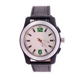 Wonder White Dial Black Strap Analog Wrist Watch For Men/boys