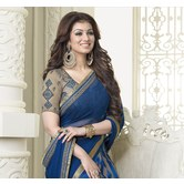 Blue Georgette Lace Work Saree With Blouse