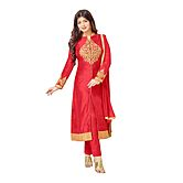 Zaparia International Red Embroidered Cotton Salwar Suit With Dupatta