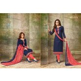 Zaparia Straight 160casul Blue N Pink Cotton Suits