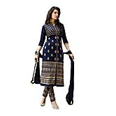 Zaparia International Blue Embroidered Cotton Salwar Suit With Dupatta