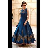 New Design Navy Blue Banglori Silk Designer Embroidery Gown