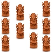 Wholesale Lot Of 5 Handcrafted Fine Carved Wooden Lord Ganesha Statues