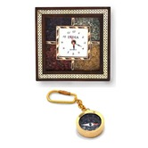 Buy Wooden Wall Clock N Get Compass Keychain Free