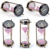 Wholesale Lot Of 5 Real Brass 5 Minute Sand Timer Cum Direction Compass