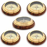 Wholesale Lot Of 5 Wooden N Brass Real Nautical Compass Handicrafts
