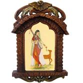 Lady Playing Sitar Wid Deer Ethnic Wooden Jharokha 436