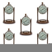 Wholesale Lot Of 5 Handcrafted Antique Design Pure Brass Compass Clocks