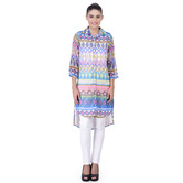 Laabha Womens All Over Geometric Print High Low Tunic With Collar Neck