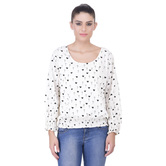 Laabha Womens Pretty Tunic In White With All Over Heart Print