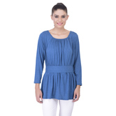 Laabha Womens Knit Casual Chic Top With Pleates On Neck And Waist Band