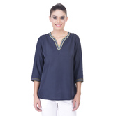 Laabha Womens Solid Crepe Tunic With Pretty Hand Work On Neck And Sleeve
