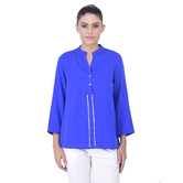 Laabha Womens Casual Tunic With Round Collar And Placket With Sequen Work