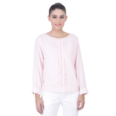 Laabha Womens Solid Viscose Top With Front Pleat And Hand Work On Neck And Pleat