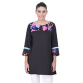 Laabha Womens Casual Tunic With Floral Print On Neck And Cuff