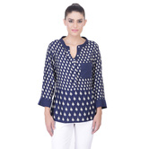 Laabha Womens Ethnic Print Tunic With Knit Pocket Collar And Cuff