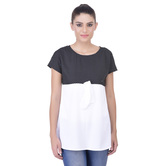 Laabha Womens Casual Top With Polka Dot Yoke And A Cute Bow