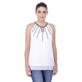 Laabha Womens Casual Top With Pin Tucks Detail And Sequen Work Sporty Look
