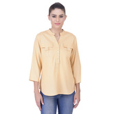 Laabha Womens Smart Two Pocket Casual Shirt With Round Collar And Placket