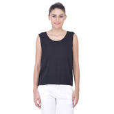 Laabha Womens Solid Crepe Sleeveless Top For A Chic Look