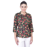 Laabha Womens All Over Floral Print Tunic With Round Collar And Front Placket