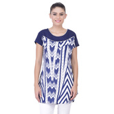 Laabha Womens Casual Top With Solid Yoke And All Over Abstract Print