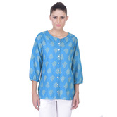 Laabha All Over Printed Front Open Placket Top For The Boho Look