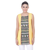 Laabha Womens Casual Viscose Tunic With Print Pannal In Front With Slit