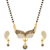 The Luxor Gold Plated Daily Wear Australian Diamond Studded Mangalsutra Set Ms-1399