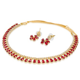 Craftsvilla  Gold Plated Austrian Diamond And Stone Red Charming Necklace Set