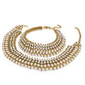 Craftsvilla  Gold Plated Attractive Golden And White Alloy Anklets