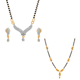 The Luxor Beads & Australian Diamond Studded Mangalsutra Set Combo-2666